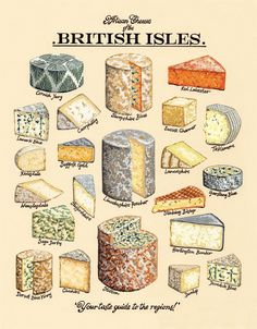 British Artisan Cheeses by Kelly Hall. Much like our artisan cheddar produced by the oldest cheddar producers in the world - the Barber family. Cheese Art, Wine Cheese, Art Du Vin, Cheese Drawing, British Cheese, Cheese Shop, Artisan Cheese, Classic Cake, Vintage Recipes