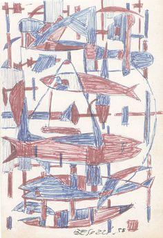 E. Besozzi pittore 1955 Composizione (pesci) biro su carta cm 13,8x11 arc. 584 (Cortese)