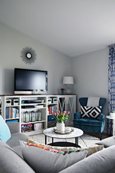 Built-in Bookcase Ikea Hack - I Heart Organizing - Want to do something similar in bonus but with a corner piece to make use of the space near sectional