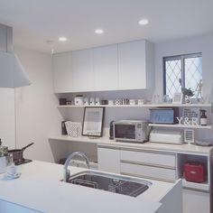 Kitchen/キッチン棚/キッチンカウンター/モノトーン/ブラバンシア/白黒グレー...などのインテリア実例 - 2016-01-12 23:53:10 | RoomClip (ルームクリップ)