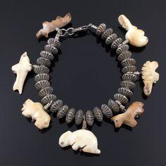 Zuni Hand Carved Agate Animal Fetish Sterling Silver Fluted Bead Bracelet | eBay