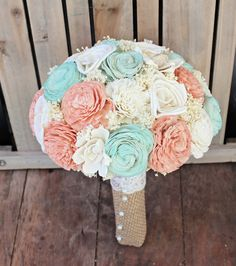 Handmade Wedding Bouquet Large Peach Mint by CuriousFloralCrafts