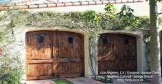 Spanish Style Garage Door | Handcrafted in Reclaimed Wood & Rustic Iron Clavos - mediterranean - garage and shed - orange county - Dynamic Garage Door
