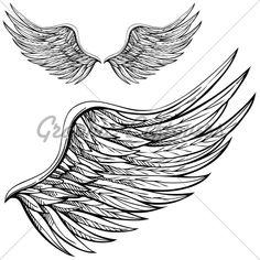 Wing drawings | Cartoon Angel Wings In Black And White. Drawn B...