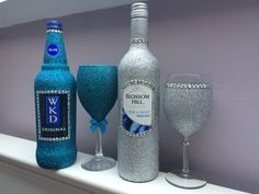 Glitter WKD bottle. Glitter wine glass with gems, glitter wine bottle. Purchase online at www.facebook.com/theglitterroom