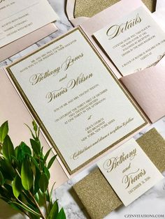 Blush and Gold Glitter pocket wedding invitation--comes in 130 paper and envelope colors with quantity and DIY discounts are available!
