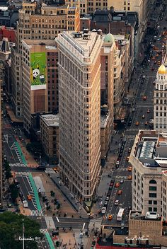 New York City Flatiron Building aerial view in Manhattan