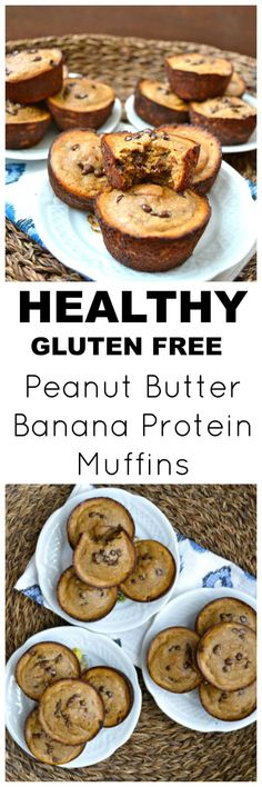 Peanut Butter Banana Protein Muffins, an easy flour-less gluten free breakfast! These easy muffins are packed with healthy ingredients, the perfect way to start your day! substitute honey with pure maple syrup for low fodmap Gluten Free Peanut Butter, Peanut Butter Banana, Gluten Free Baking, Banana Nut, Gluten Free Breakfasts, Gluten Free Desserts, Gluten Free Recipes, Healthy Breakfasts, Banana Protein Muffins