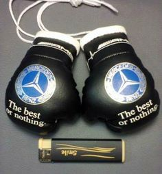 Mercedes Benz logo.Miniature boxing gloves.Suspension on the rear view mirror.