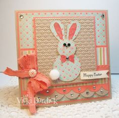 handmade Easter card from It's a Stamp Thing: Sweet Sunday....Easter Bunny ... soft orange, kraft and vanilla ... punch art bunnt ... patterned papers in layers ...
