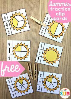 Sun fraction clip cards math fractions, math fractions и act Fraction Games, Fraction Activities, Math Resources, Math Games, Math Activities, Elementary Math, Kindergarten Math, Teaching Math, Kids Math