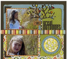 Cricut Graphically Speaking The Great Outdoors scrapbook Layout ~ Like the tree idea.