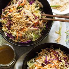 The hero of this Chinese Chicken Salad is the Asian Dressing. It can make any bo… The hero of this Chinese Chicken Salad is the Asian Dressing. It can make any bowl of fresh greens devilishly moorish! Terrific for packed lunches! Chicken Salad, Baked Chicken, Chicken Recipes, Baked Pork, Roast Chicken, Roast Beef, Fromage Vegan, Asian Dressing, Recipetin Eats
