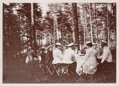 "Finland c.1909 ~The Imperial Family an their entourage enjoying a picnic ashore.Featured in these photographs are Tsar Nicholas ll of Russia,Empress Alexandra Feodorovna of Russia,Grand Duchesses Olga and Tatiana Nikolaevna Romanova of Russia, Olga Byutsova,Anya Alexandrovna Vyrubova and Captain Nikolai Petrovich Sablin. ""AL"""