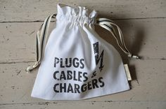 One of our best selling bags. An ideal storage, travel or gift bag to keep plugs, cables and chargers conveniently accessible. Drawstring Bags, Natural Linen, Cricut Ideas, Masquerade, Plugs, It Is Finished, Pop, Kitchen, Prints