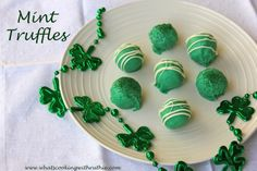 Mint Truffles!  No-bake, simple St. Patricks Day treat!  from www.whatscookingwithruthie.com #candy #stpatricksday