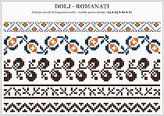 Semne Cusute: OLTENIA - motive traditionale romanesti; Dolj - Romanati Folk Embroidery, Learn Embroidery, Embroidery Patterns, Stitch Patterns, Knitting Charts, Hand Knitting, Knitting Patterns, Cross Stitch Borders, Cross Stitch Flowers