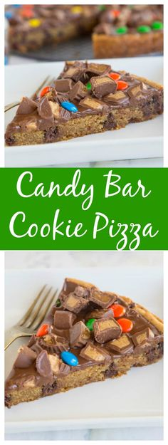 Candy Bar Cookie Pizza – a chocolate chip cookie pizza topped with melted chocolate and lots of your favorite candy!