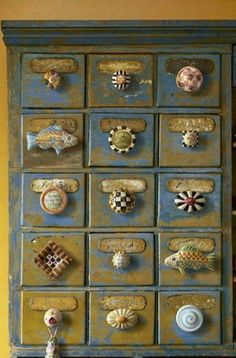 Painted cabinet with MacKenzie Child knobs Knobs And Knockers, Knobs And Handles, Knobs And Pulls, Drawer Knobs, Drawer Pulls, Door Knobs, Funky Furniture, Furniture Makeover, Painted Furniture