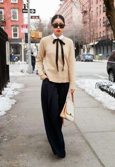 MaxMara coat, American Apparel shirt, Stella McCartney ribbon, Gap pullover, Agnona pants, Cartier bag