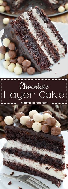 Chocolate Layer Cake with Cream Cheese Filling - perfect combination of chocolat., Desserts, Chocolate Layer Cake with Cream Cheese Filling - perfect combination of chocolate and cheese. Chocolate Cheese, Chocolate Lovers, Chocolate Desserts, Chocolate Smoothies, Chocolate Shakeology, Chocolate Mouse, Chocolate Crinkles, Chocolate Drizzle, Chocolate Chocolate
