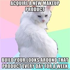 Sephora's Beauty Addict Kitty, Yeah my spirit animals, along with Grumpy Cat,  white cats kittens cosmetics makeup memes, funny humor, Acquire a new makeup product, build your looks around that product every day for a week, ,  I purchased the Vice 3 Palette