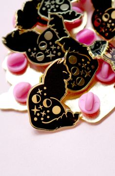 Obsessed with black cat enamel pins - especially when they have stars all over them!
