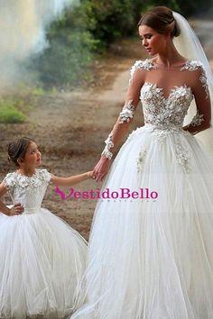 7887579874 Comprar 2016 vestidos de boda completa mangas de la cucharada de tul con  apliques x62213 Baratos Venta En Línea - VestidoBello.com