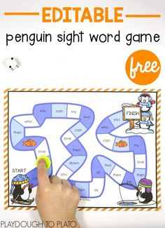 Editable penguin sight word game! Fun literacy center or word work activity for kindergarten, first grade or second grade. Perfect for a winter unit!