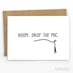 Funny Graduation Card ~ Boom. Drop the Mic ~ By Cypress Card Co.