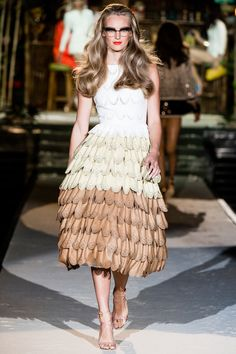 Tikigirl -  DSQUARED2 Spring 2014 Collection; white mid length dress; feathered, white and tan