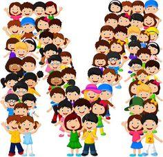 Los niños pequeños forman el alfabeto M Alphabet E, Alphabet And Numbers, Birthday Msgs, Award Template, M Letter, School Cartoon, Letters For Kids, School Accessories, School Items