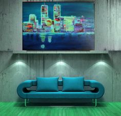 """Original Abstract  Acrylic Painting Landscape Painting M.Schöneberg Handmade Collage Art """"New York at night"""" 24x36x1,5 FREE Express Shipping"""