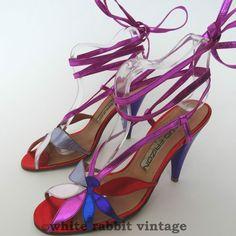 vtg 70s MAUD FRIZON SHOES 3.5 leather designer stiletto heel party strappy paris #MaudFrizon #Heels