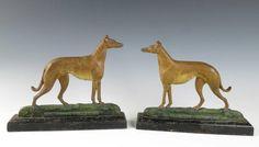 Rare Pair ANTIQUE CAST IRON CHAMPION GREYHOUND Whippet Dog Doorstop Andirons