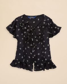 Ralph Lauren Childrenswear Girls' Floral Print Ruffle Top - Sizes 2-6X