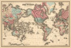 Planisphere in mercator projection world map poster vintage map historic map of the world antique world map print 22 x 33 large gumiabroncs Choice Image