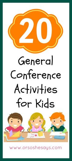 20 General Conference Activities for Kids - keep everyone entertained and engaged during conference! General Conference Activities For Kids, General Conference Quotes, Primary Activities, Church Activities, Toddler Activities, Indoor Activities, Summer Activities, Lds Conference Talks, Family Activities