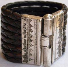 Tuareg silver & leather cuff