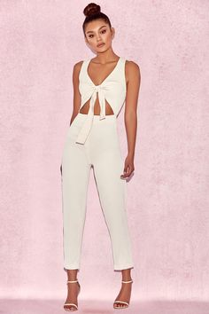 34c79098ea10 Goya Cream Crepe Knotted Front Jumpsuit White Jumpsuit