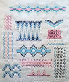 """Vagonite/Huck Weaving Stitch Sampler FO by gotthebutton. This is a Swedish Weaving type of stitch & there is a similar technique, known to Spanish speaking Pinters as """"Bordado yugoslavo"""" or vagonite; and also known as Monk Embroidery Swedish Embroidery, Embroidery Sampler, Embroidery Patterns Free, Ribbon Embroidery, Cross Stitch Embroidery, Stitch Patterns, Cross Stitches, Loom Patterns, Free Swedish Weaving Patterns"""