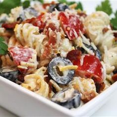 Bacon Ranch Pasta Salad 4 cups pasta 1 package dry ranch