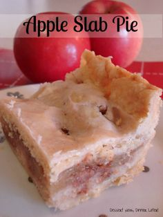 Apple Slab Pie | Dessert Now, Dinner Later! Crust:  1 1/2 c butter flavored Crisco (vegetable shortening)  3 c flour  1 whole egg  5 T cold ice water  1 T white vinegar  1 t salt  Filling:  8 c Granny Smith apples, peeled, cored, & sliced (about 6-8 apples depending on size)  6 T sugar   1 T cinnamon  1/4 t nutmeg  2 T cornstarch  1 c coarsely crushed cornflakes  Glaze:  1 1/2 c powdered sugar  1/4 c apple cider  small pinch of salt  1/2 t cinnamon  1 t milk or cream