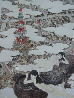 Aida Makoto (会田 誠 Niigata Prefecture), a contemporary Japanese artist known for his provocative works of manga. Yamaguchi, Akira, Makoto Aida, Japanese Painting, Japan Art, Japanese Artists, Ink Painting, Ink Art, Museum