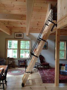 Best Cool Loft Stair Design Ideas for Space Saving 3 Loft Staircase, Attic Stairs, Stairs To Loft, Mezzanine Loft, Attic Floor, Attic Renovation, Attic Remodel, Loft Room, Bedroom Loft