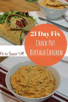 This recipe for Crock Pot Buffalo Chicken is awesome and it's 21 Day Fix friendly! I've used it for a healthy and clean buffalo chicken dip as well as for buffalo chicken wraps for dinner! Sooooo good!