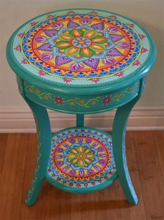 Hand Painted Round Accent Table Painted Furniture Boho Style Solid Wood 26 Inches Mandala Table - Furniture Home Decor Funky Painted Furniture, Bohemian Furniture, Painted Chairs, Paint Furniture, Repurposed Furniture, Cheap Furniture, Furniture Makeover, Furniture Nyc, Furniture Outlet