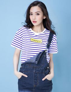 Adorable casual striped tee on Meilishuo available for just 64 RMB or about US$9.72! Cute is cool.   Buy and ship internationally from Meilishuo via Chinaebuys (www.chinaebuys.com).  衣品天成小清新条纹T恤