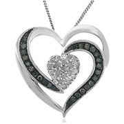"""Holiday Collection 1/2 Carat T.W. Treated Blue and White Diamond Sterling Silver Heart Pendant, 20"""""""