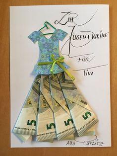 Gift idea, money gift, give away money - Birthday Presents Birthday Money, Birthday Presents, Birthday Cards, Money Cards, Diy Cards, Ideas Sorpresa, Don D'argent, Creative Money Gifts, Folding Money